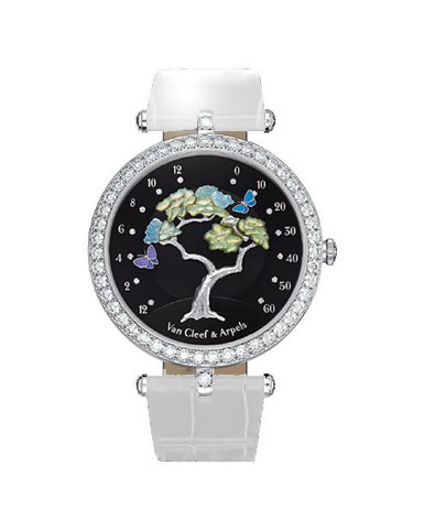 Van Cleef & Arpels Poetic Complication Butterfly Symphony 18K White Gold Ladies Watch (Copy), Preowned-VCARN9VG00