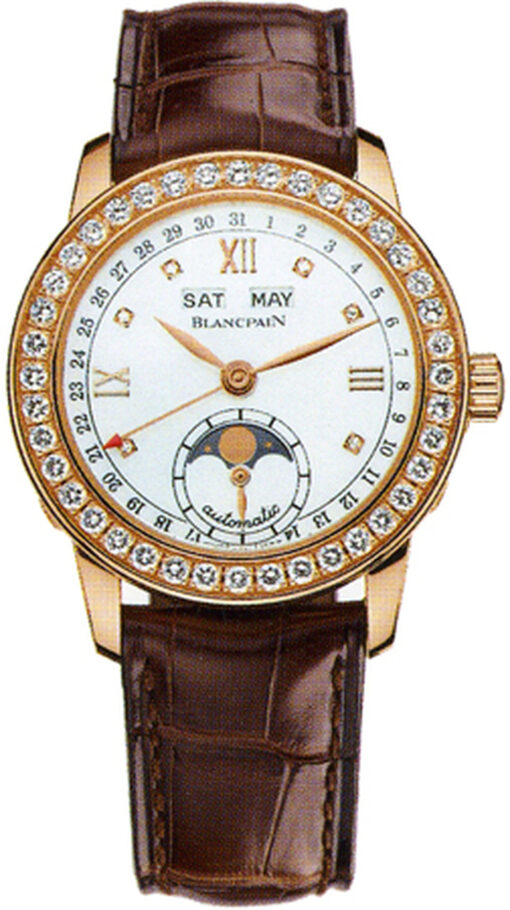 Blancpain Leman Moon Phase 18K Rose Gold Ladies Watch, Preowned-2360-2991A-55