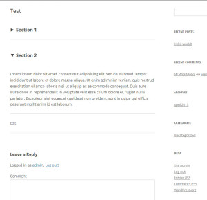section page plugin
