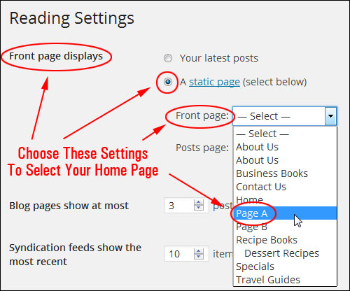 How To Set A Page In WordPress As The Static Home Page