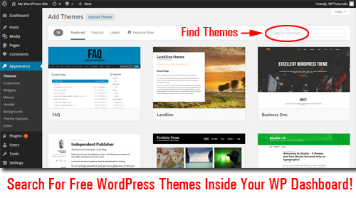 Search for Free WordPress Themes Inside Your Dashboard