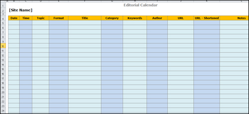 Editorial Content Template Created Using A Spreadsheet