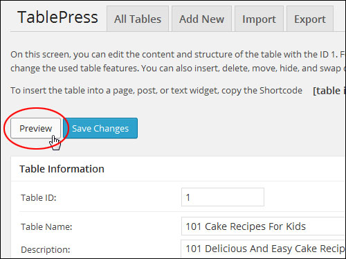 Adding Tables With WordPress