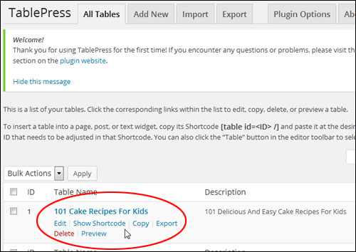 Creating And Inserting Tables In WordPress