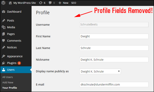 Hide User Profile Fields - WordPress Plugin