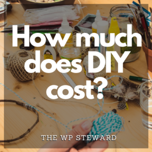 The words How Much Does DIY Cost? superimposed over an image of a crafting table with string, glue, etc.