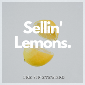 The words Sellin' Lemons superinposed over an image of a lemon