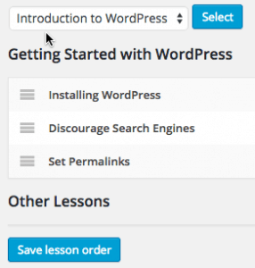 Screen grab of the Reorder Lessons option in the WordPress Sensei plugin.