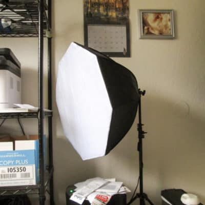 Portable soft-box studio light with full-spectrum bulb