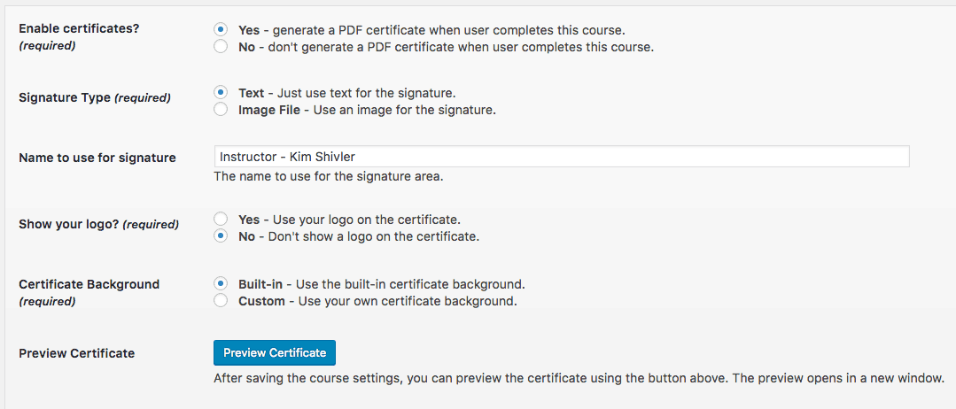 Screengrab of WPCourseware Certificate Configuration Screen