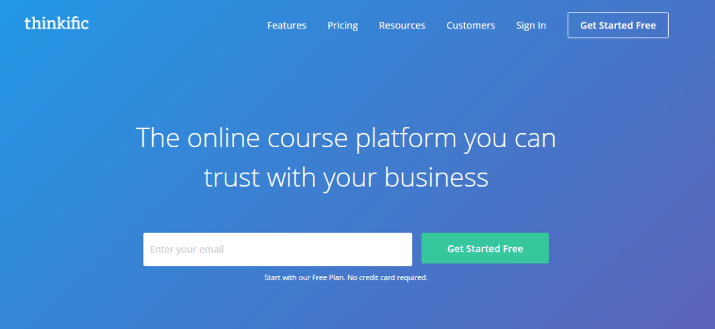 Thinkific Online Course Platform Homepage