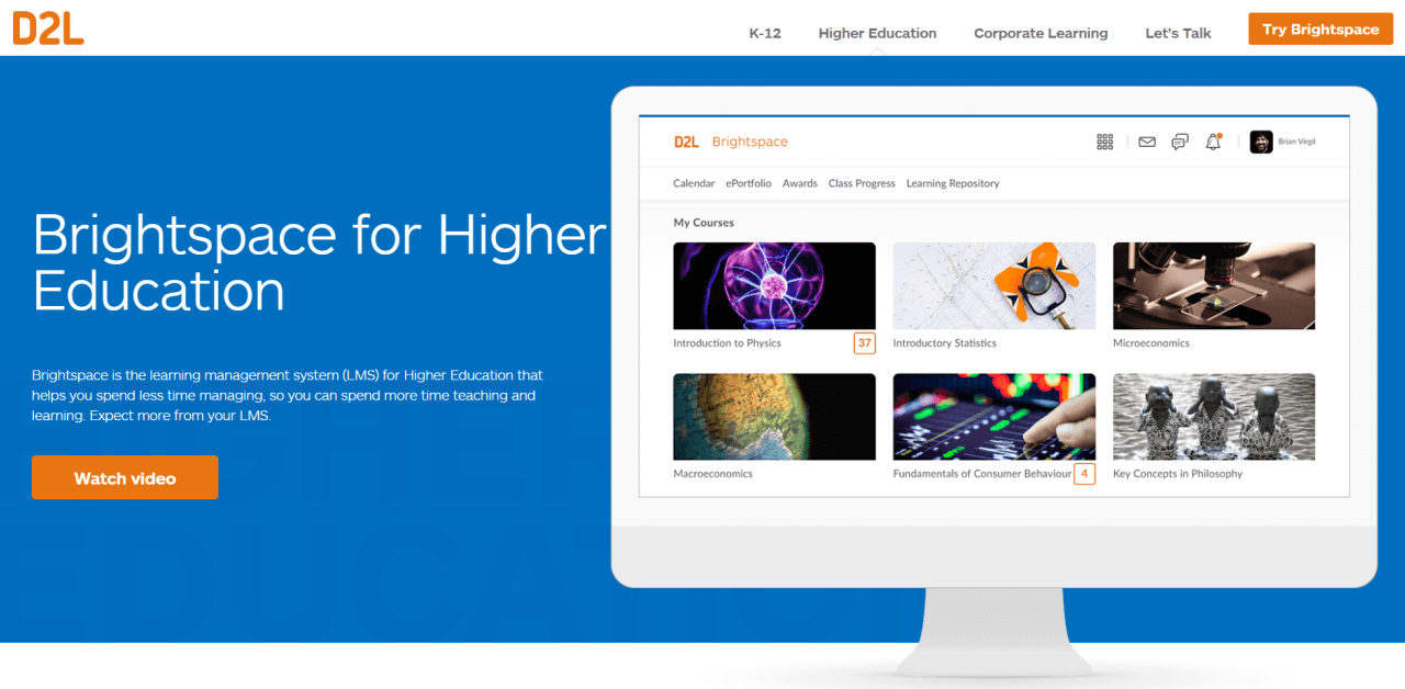 D2L's Brightspace is a LMS geared towards students,