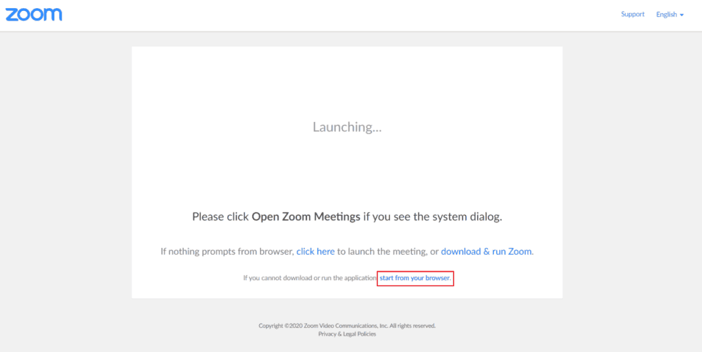 Before the meeting begins, you should tell all meeting participants to click the Start from your browser option link