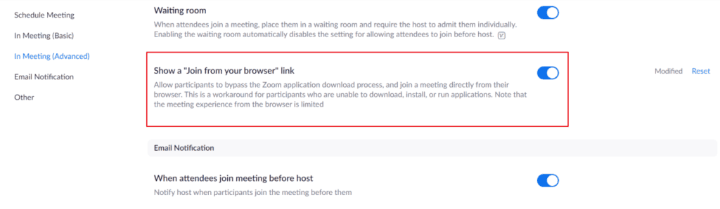 From the Settings page, click on the In Meeting