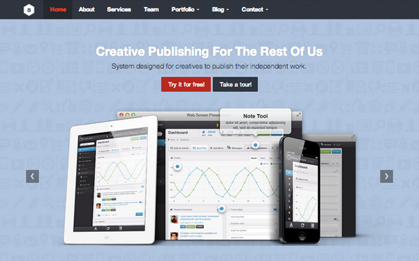 CMS Website Template built with Bootstrap - DMXReady