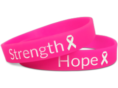 strength and hope custom silicone wristband in pink
