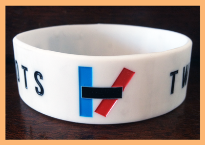 "1"" Silicone Wristband custom made for 21 Pilots"