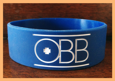 "1"" Silicone Wristband custom made for OBB"