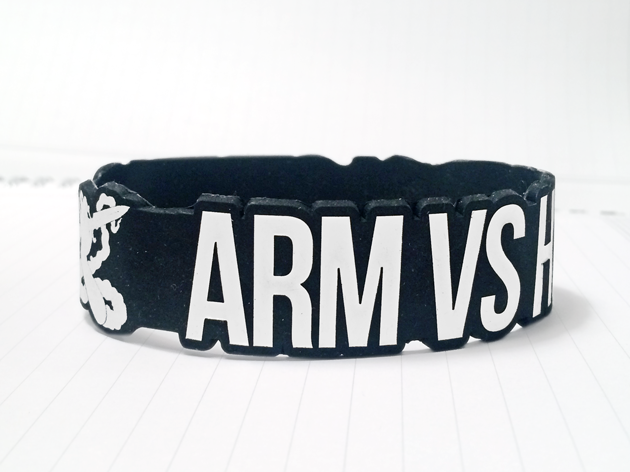 Die Cut Silicone Wristband custom made for Arms Vs Hand Clothing