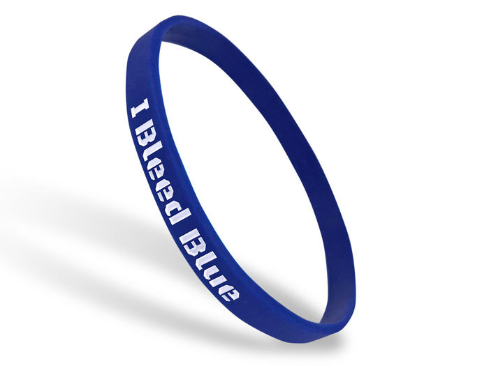 Ultra Thin Silicone Wristband custom made for I Bleed Blue
