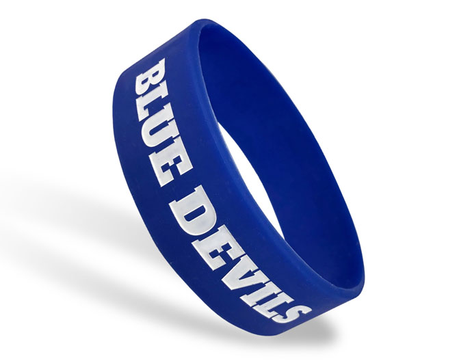 Ultra Wide Silicone Wristband custom made for Blue Devils