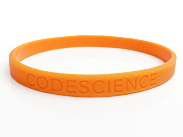 "1/4"" Silicone Wristband custom made for CodeScience"