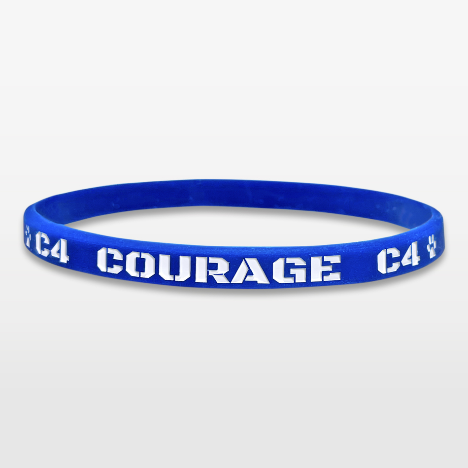 Courage Ultra Thin Silicone Wristband custom made for a customer
