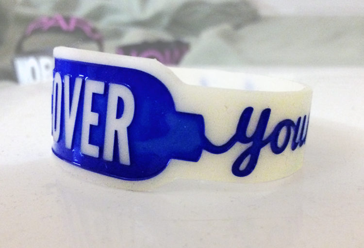 Die Cut Silicone Wristband custom made for Cover Your Assets