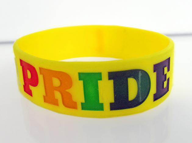 Wide Silicone Wristband custom made for LGBTQ Pride