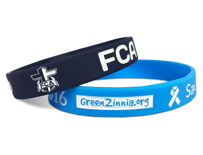 "1/2"" Silicone Wristband custom made for GreenZinnia.org and FCA"