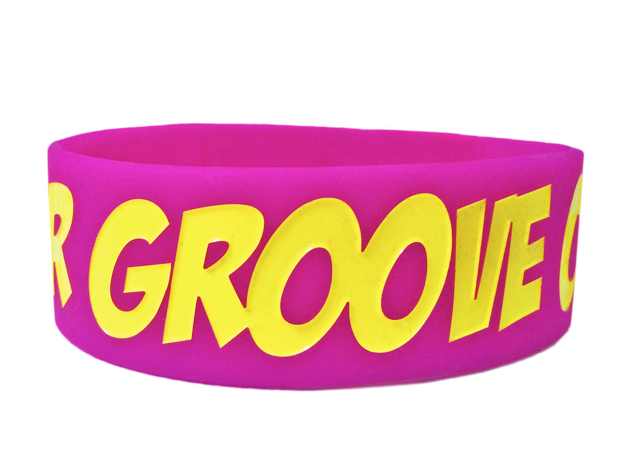 "1"" Silicone Wristband custom made for Grooving!"