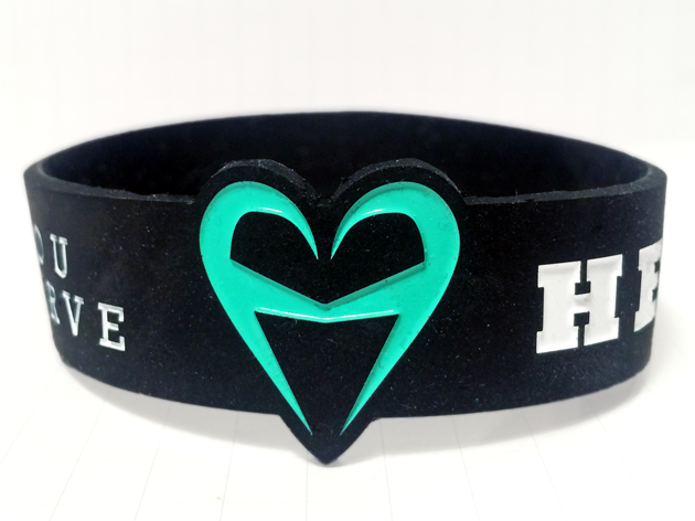 Die Cut Silicone Wristband custom made for Heartist