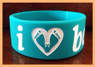 Ultra Wide Silicone Wristband custom made for I Heart Babies