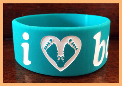 "1"" Silicone Wristband customized for I Heart Babies"