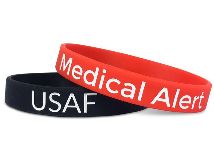 Classic Silicone Wristband custom made for USAF & Medical Alert