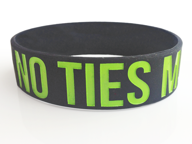 "3/4"" Silicone Wristband custom made for No Ties Management"