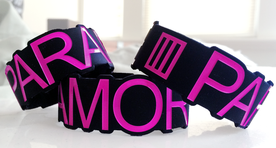 Die Cut Silicone Wristband custom made for Paramore