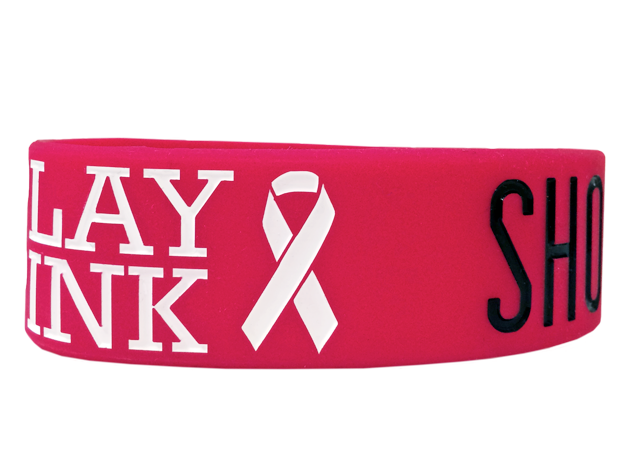 custom pink wristband with ribbon saying Play Pink