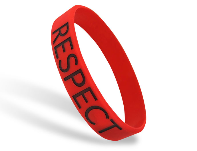 Classic Silicone Wristband custom made for Respect