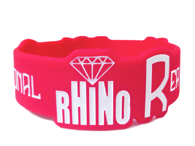 custom die cut wristband made for Rhino