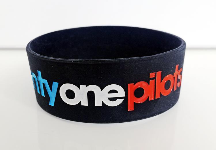 Wide Silicone Wristband custom made for Twenty One Pilots