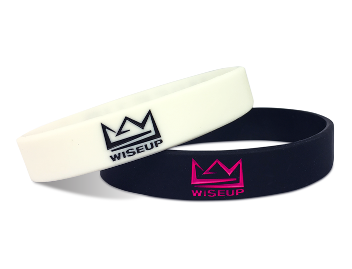 "1/2"" Silicone Wristband custom made for WiseUp"