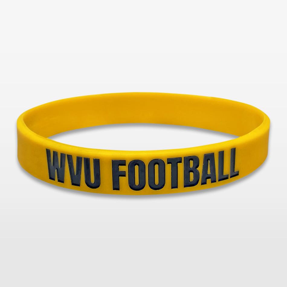 WVU Football Classic Silicone Wristband custom made for a customer