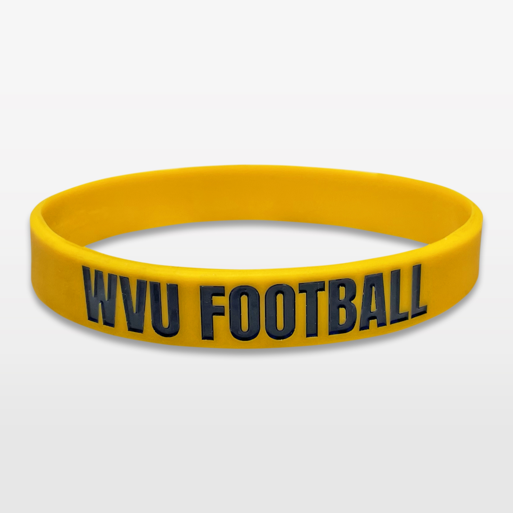 WVU Football Classic Silicone Wristband custom made for a customer