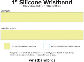 Ultra Wide Silicone Wristband template preview