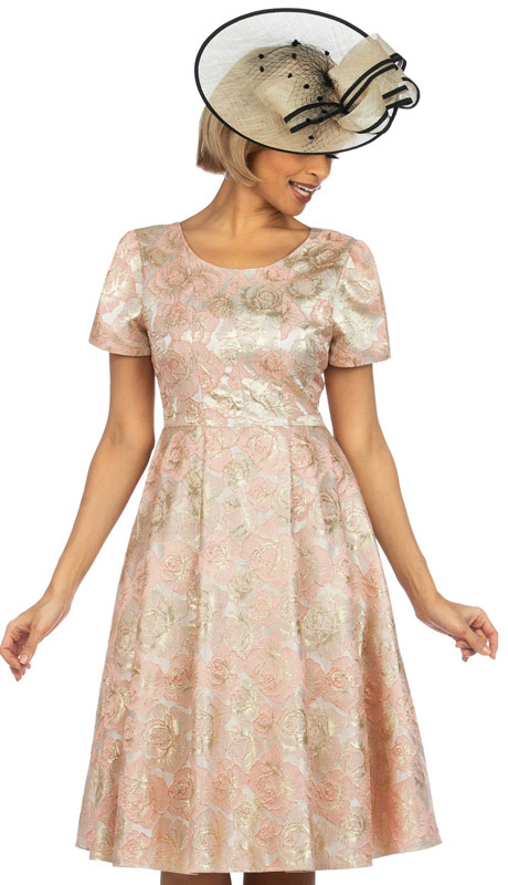 Giovanna D1328-PG ( 1pc Metallic Floral Dress With Short Puff Sleeves )