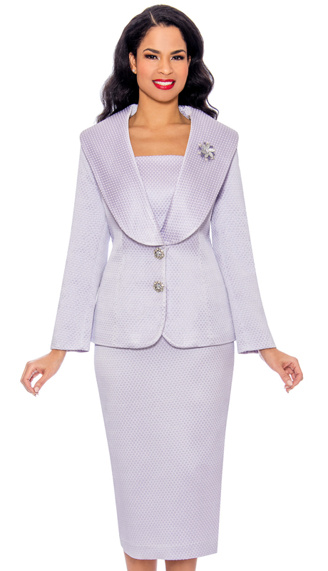 Giovanna G1094-LI ( 2pc Embossed Novelty Church Suit With Oversized Collar, Rhinestone Buttons And Brooch )