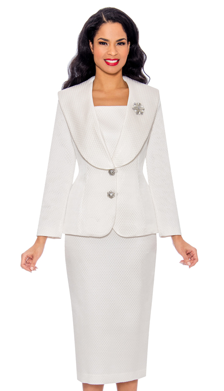 Giovanna G1094-WH ( 2pc Embossed Novelty Church Suit With Oversized Collar, Rhinestone Buttons And Brooch )
