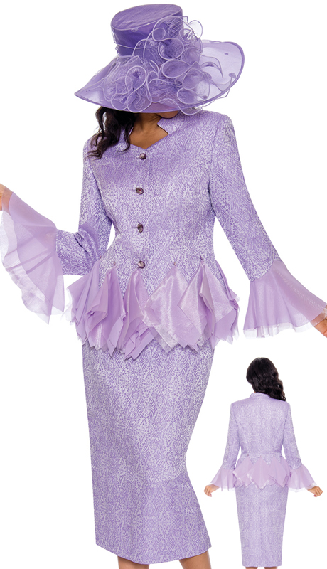 Giovanna G1095-VI-CO ( 2pc Brocade Church Suit With Organza Trims )