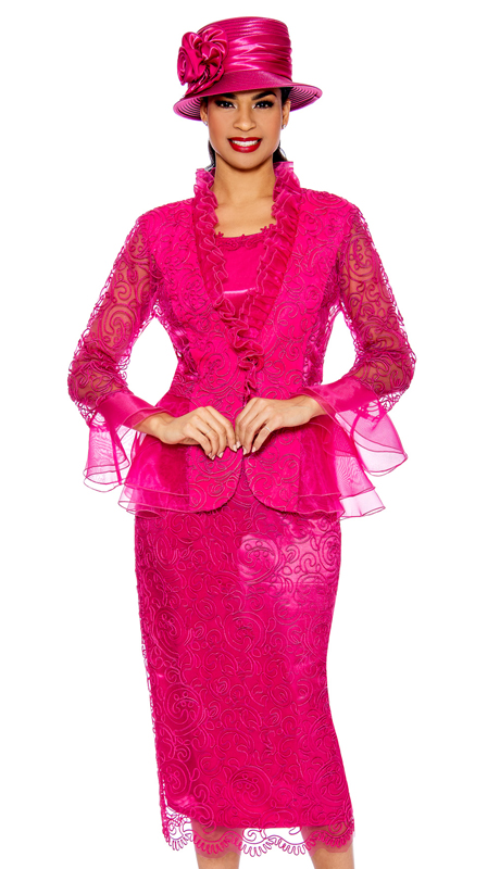 Giovanna 0929-HP ( 3pc Silk Look With Lace Womens Church Suit With Organza Trim )